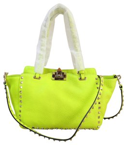 Valentino Like New Small Rockstud Yellow Satchel in bright yellow