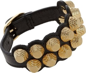 Balenciaga Black leather Balenciaga gold-tone Giant stud wrap bracelet