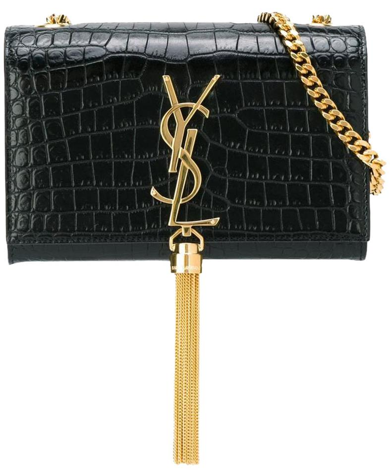 Saint Laurent Classic Small Ysl Monogram Tassel Chain Croc Embossed ... e6803e9bc91ee