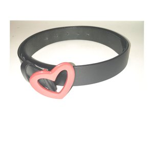 Love Moschino Black Leather Heart Buckle Belt