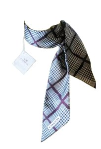 Coach Plaid pony twilly scarf 100% silk