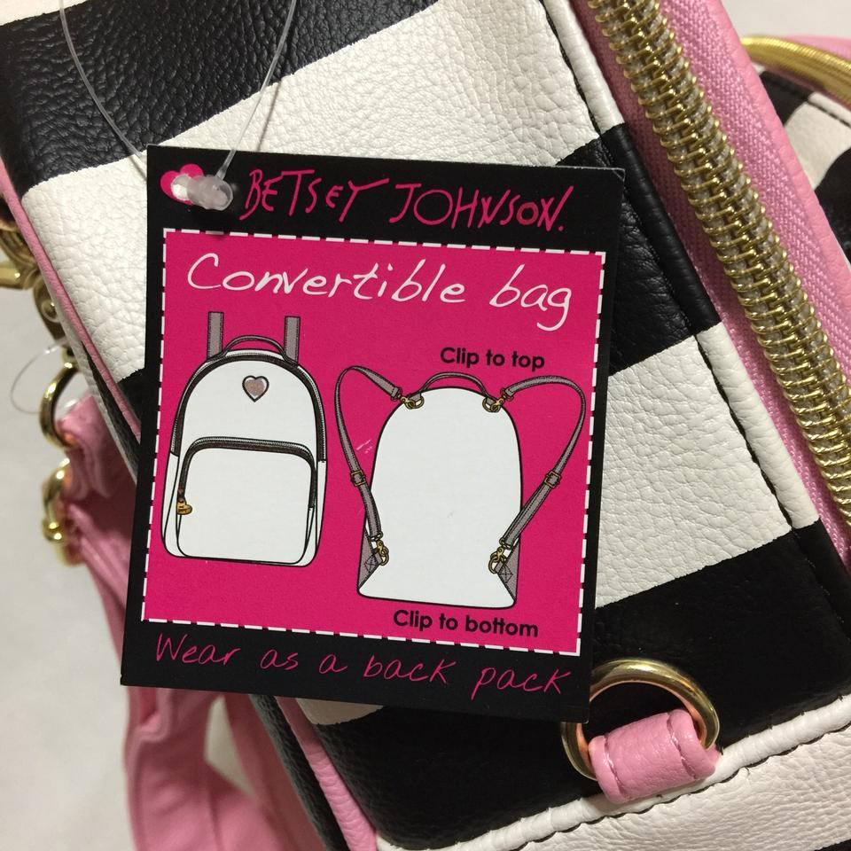 3aa76684cdd Betsey Johnson Mini Convertible Striped Style Purse Multicolored Faux  Leather Backpack