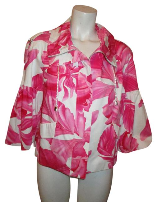 Cache Pink & White Tropical Print 3/4 Sleeve Cotton Jacket Size 8 (M) Cache Pink & White Tropical Print 3/4 Sleeve Cotton Jacket Size 8 (M) Image 1