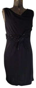 Kay Unger Knit Sleeveless Cowl Neck Sequin Mbc Dress