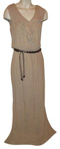beige Maxi Dress by AB Studio Ruffled Gauze Sleeveless