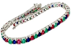 Other ** NWT ** RUBY, SAPPHIRE, EMERALD ( 18k WHITE GOLD ) TENNIS BRACELET