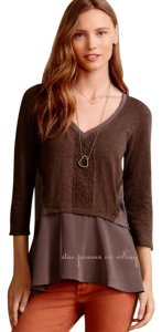 Anthropologie Chiffon Peplum Top NWT Grey / Brown