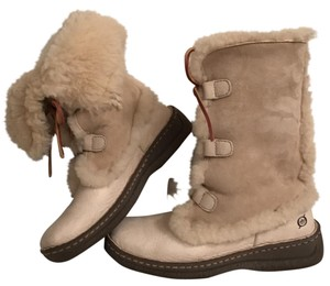 Børn Leather Suede Shear Lined Ankle Ivory Boots