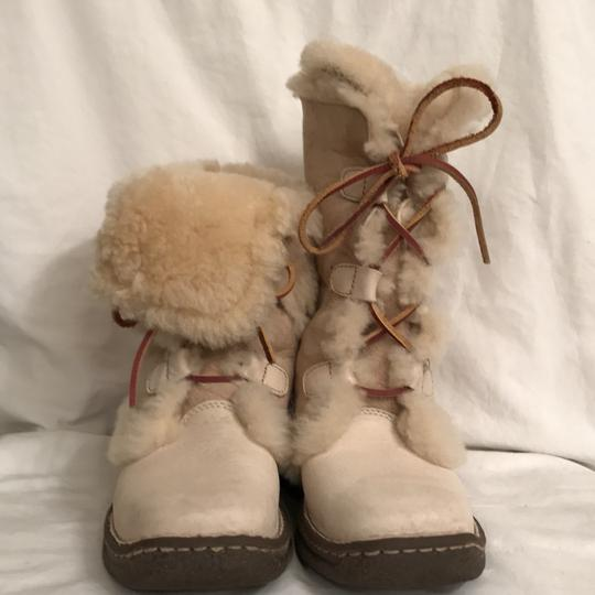 Brn Leather Suede Shear Lined Ankle Ivory Boots Image 1