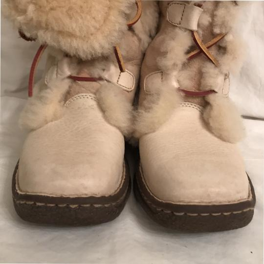 Brn Leather Suede Shear Lined Ankle Ivory Boots Image 2