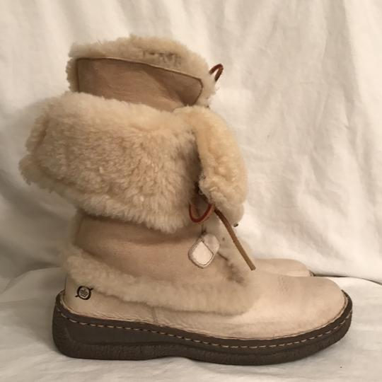 Brn Leather Suede Shear Lined Ankle Ivory Boots Image 3