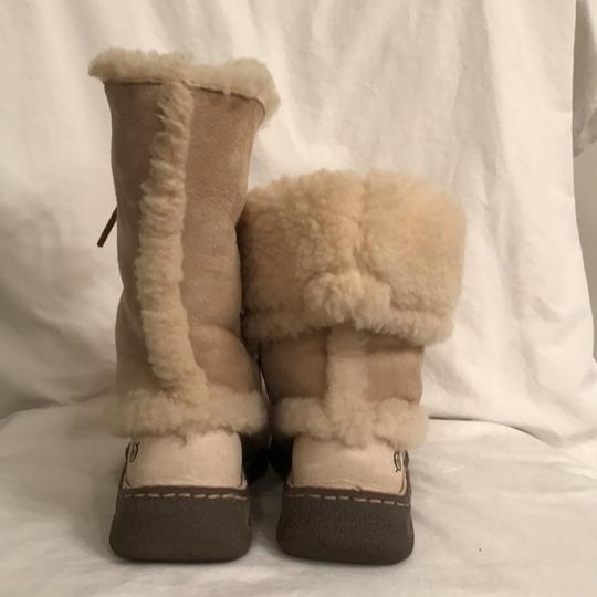 Brn Leather Suede Shear Lined Ankle Ivory Boots Image 5
