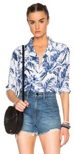 Equipment Button Down Oversized Bohemian Classy Tropical Top Blue tropical