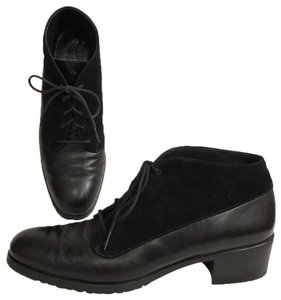 Munro American Leather Suede Lace Ups Flat Black Boots