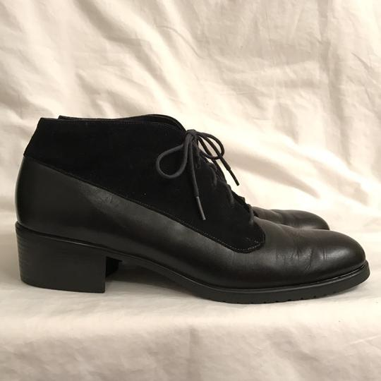 Munro American Leather Suede Lace Ups Flat Black Boots Image 1