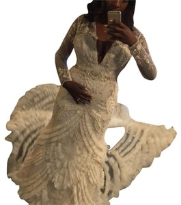 Lazaro Off-white Lace Tulle Custom Gown Sexy Wedding Dress Size 10 (M)