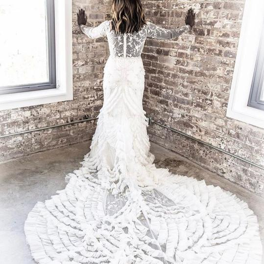 Lazaro Off-white Lace Tulle Custom Gown Sexy Wedding Dress Size 10 (M) Image 3