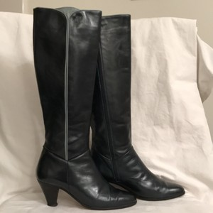 Saks Fifth Avenue Leather Knee High Vintage Zipper Closure Navy Blue, Light Blue Boots