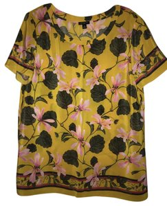 Ann Taylor 100% Silk Top Yellow Floral