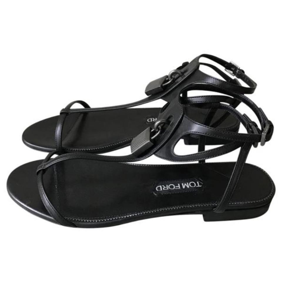 df02e008b03 Tom Ford Black New Leather Lock T Strap Sandals Size EU 37 (Approx ...