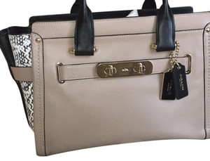 Coach Satchel in snake print sides, black and taupe