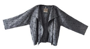 Eskandar Mid Embroidered Floral Wool Cashmere Size 1 Grey and Black Jacket