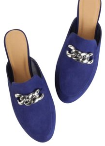 Suede Chain Loafers blue Flats