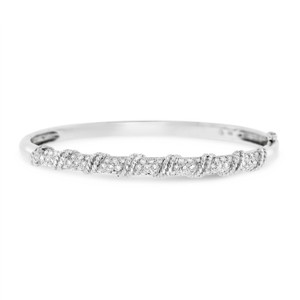 Other 1.25 Ct. Natural Diamond Rope Design Bangle In Solid 14k White Gold