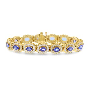 Other 13.8 Ct. Natural Diamond & Tanzanite Oval Halo Design Bracelet In