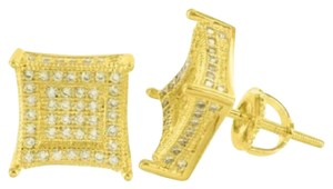 Other Mens Yellow Gold Tone Cz Studded Kite Square Iced On Sale 3d