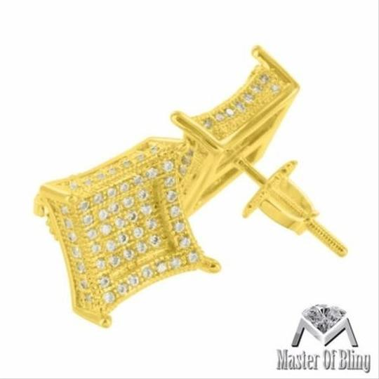 Other Mens Yellow Gold Tone Cz Studded Kite Square Iced On Sale 3d Image 1