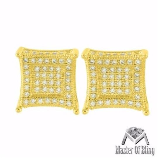 Other Mens Yellow Gold Tone Cz Studded Kite Square Iced On Sale 3d Image 2