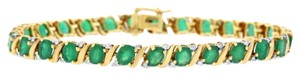 Other 7.25 Ct. Natural Diamond & Green Emerald Tennis Bracelet In Solid 14k