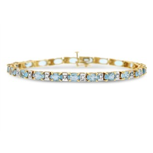 Other 12.95 Ct. Natural Diamond & Blue Topaz Tennis Bracelet In Solid 14k