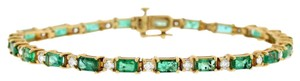 Other 6.26 Ct. Natural Diamond & Green Emerald Bracelet In Solid 14k Yellow
