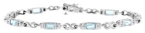 Other 4.50 Ct. Natural Diamond & Aquamarine Infinity Bracelet In Solid 14k
