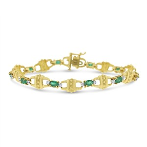 Other 4.25 Ct. Natural Diamonds & Green Emerald Link Bracelet In solid 14k