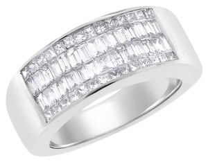 Other 1.00 Ct. Natural Diamond Invisible Set Men's Ring In Solid 18k White