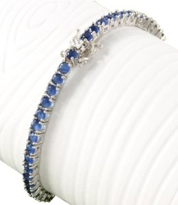 Other ** NWT ** STERLING SILVER BLUE SAPPHIRE TENNIS BRACELET
