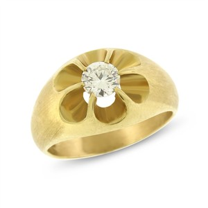 Other 0.63 Ct. Natural Diamond Solitaire Men's Pinky Ring Brush Finish 14k