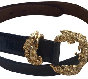 Talbots Black Alligator Leather Belt with Gold Hardware