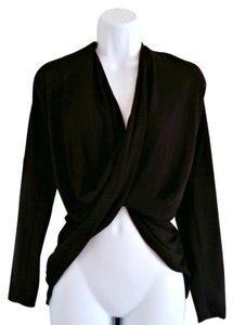For Cynthia Drape Draped Wrap Bellyshirt Cropped Top Black