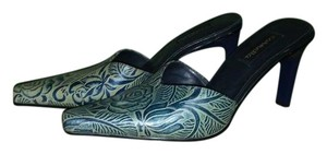 CARMELLA Rose Embossed Leather Navy Blue Mules
