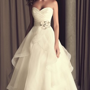 Paloma Blanca Never Worn Taffeta And Organza Wedding Dress