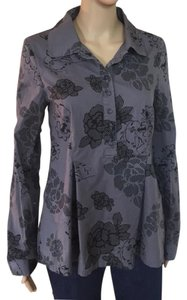 Tulle Floral Shirt Anthro Top gray and black