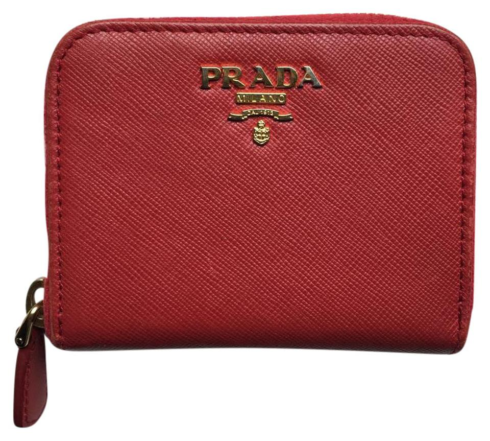 2f81c77596e9 Prada Red Saffiano Metal Leather Zip Card Holder Wallet - Tradesy