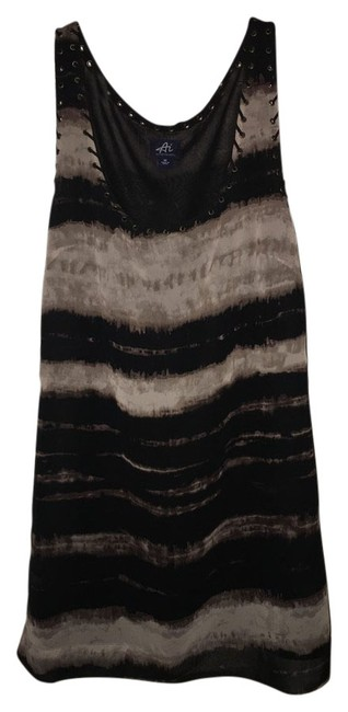 Item - Black and Tan Tie Dye Mid-length Short Casual Dress Size 8 (M)