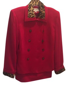 Noviello-Bloom Suits Red 2pc skirt and jacket
