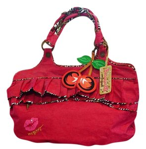 Betseyville by Betsey Johnson Denim Ruffle Cherry Tote in Red