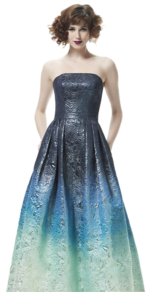 Theia Blue Lagoon Ombre 882932 Long Formal Dress Size 4 (S) - Tradesy